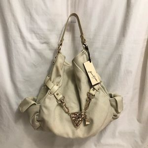 Drake Beige Cotton Canvas & Leather Bag
